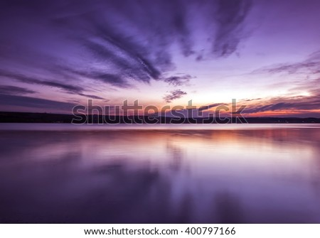 Amazing symmetry lake sunset with reflection