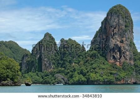 Amazing Thailand! Krabi province. Rocks by the sea. - stock photo