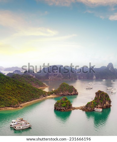 Amazing travel destination in Asia - Halong Bay exotic sea and islands in northern Vietnam - stock photo