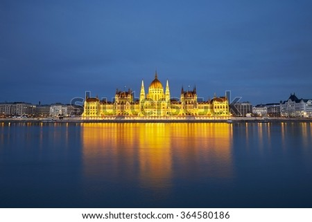 Amazing twilight in Budapest - Parliament in Budapest, Hungary - stock photo