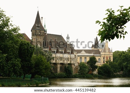 amazing  view at old castle and park in the morning light in Budapest city, travel concept, space for tex