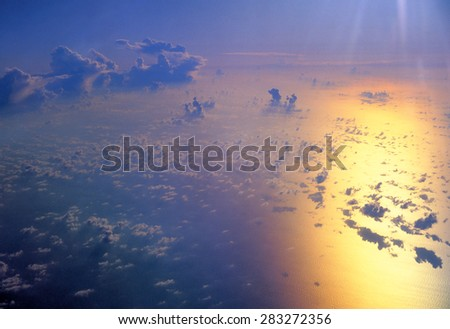 Amazing view from plane on the sky - stock photo