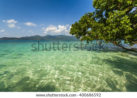 Amazing view from the shores of of a tropical island. Koh Chang. Thailand. - stock photo