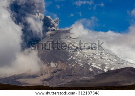 Amazing view of active Cotopaxi volcano erupting in Ecuador, South America