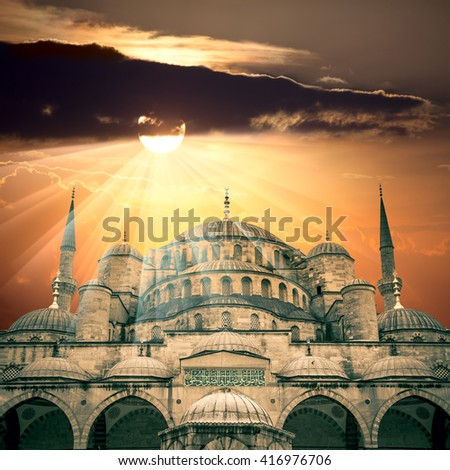 Amazing view of Blue Mosque with sun and  sunbeams, Istanbul, Turkey - big size - stock photo