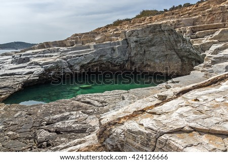 Amazing view of Giola Natural Pool in Thassos island, East Macedonia and Thrace, Greece  - stock photo