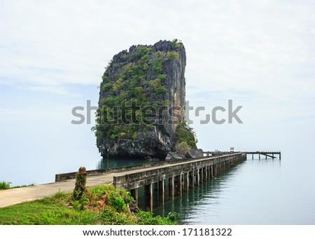 Amazing view of huge rock - Giant Nail. Tarutao Island national park, Thailand - stock photo