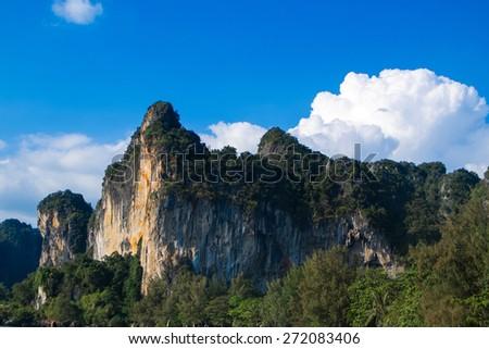 Amazing view of huge rock - karbi, Thailand - stock photo