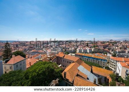 Amazing view of Lisbon in Portugal on a sunny day - stock photo