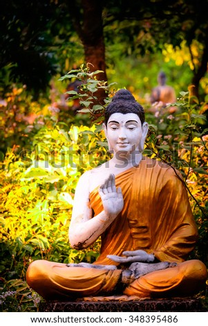 Amazing view of lot Buddhas statues in Loumani Buddha Garden. Hpa-An, Myanmar (Burma) travel landscapes and destinations - stock photo