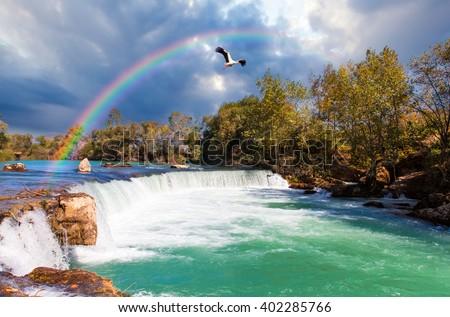 Amazing view of Manavgat waterfall in Turkey - stock photo