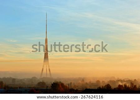 Amazing view of Riga Radio and TV Tower, Latvia - stock photo
