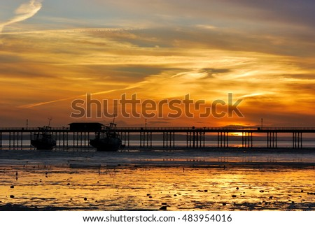 Amazing view of Southend Pier during sunset, Essex, England