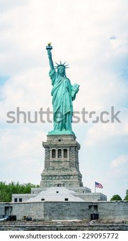 Amazing view of Statue of Liberty in New York. - stock photo