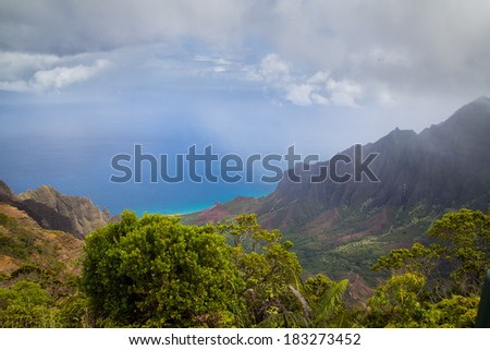 Amazing view of the Kalalau Valley and the Na Pali coast in Kauai. - stock photo