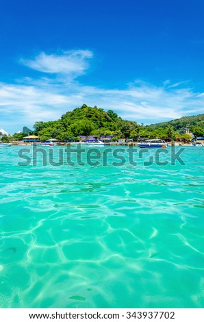 Amazing view of the Phi Phi archipelago, surrounded by the beautiful turquoise color of the sea, Thailand, Asia - stock photo