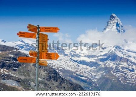 Amazing view of touristic trail near the Matterhorn in the Swiss Alps  - stock photo