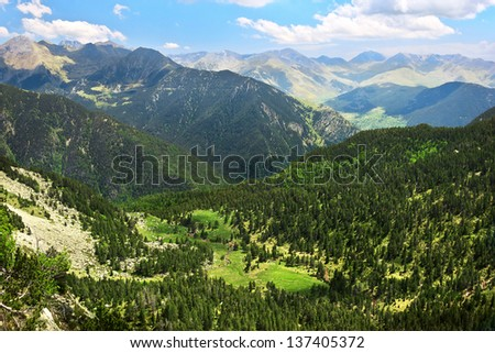 Amazing view of valley in national park Aiguestortes in Spain  - stock photo