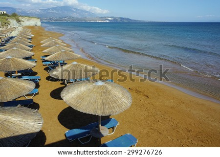 amazing view of Xi Beach,  beach with red sand in Kefalonia, Ionian islands, Greece - stock photo