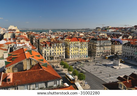 Amazing view on commerce square of Lisbon. - stock photo