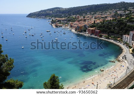 Amazing view on Cote D'Azur from mountains near Nice - stock photo