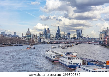 Amazing view on the river Thames from the Waterloo Bridge - stock photo