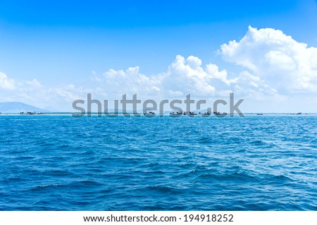 amazing view seascape bajau floating village at semporna sabah, malaysia - stock photo
