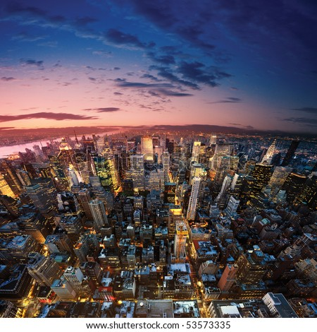 Amazing view to new york manhattan - newyork city - stock photo
