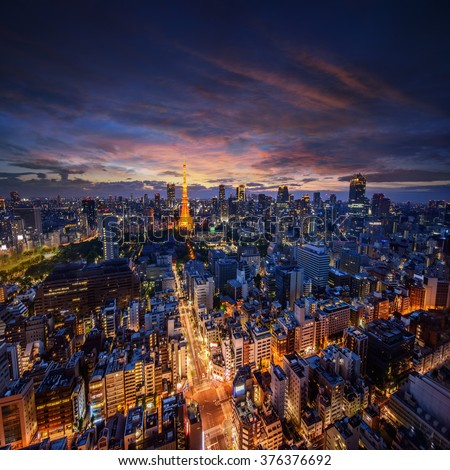 Amazing view to Tokyo City Center at sunset - stock photo