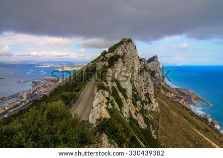 Amazing Vista from the top of the Rock of Gibraltar - stock photo