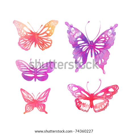 Amazing watercolor butterflies set isolated on white - stock photo