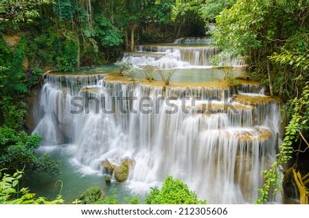 Amazing waterfall in autumn forest National Park Kanjanaburi Thailand - stock photo