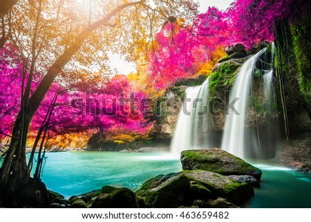 Amazing Waterfall Colorful Autumn Forest Stock Photo ... - photo#17