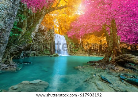 Amazing Waterfall Colorful Autumn Forest Stock Photo ... - photo#3