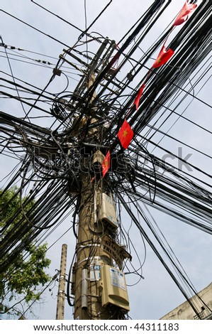 Amazing wires installation it became almost a city icon. - stock photo