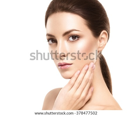Amazing Woman face young beautiful healthy skin portrait - stock photo