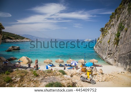 Amazing Xigia beach in Zakynthos. Sulfur and collagen spring. - stock photo