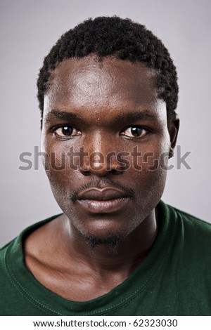 Amazingly high detailed portrait of an African face, must see at full size. - stock photo