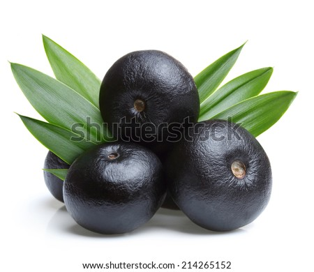 Amazon acai fruit with leaf isolated on white background. - stock photo
