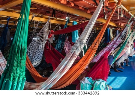 AMAZON, BRAZIL - JUNE 27, 2015: Hammock deck at the boat Anna Karoline II which plies river Amazon between Santarem and Manaus, Brazil.