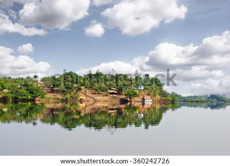 Amazon rainforest: Settlement on the Amazon River near Manaus, Brazil - stock photo
