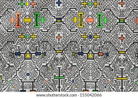 Amazon tipic fabric texture, shipibo, ashninka, conibo, in peru - stock photo