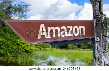 Amazon wooden sign with a forest background - stock photo