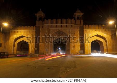 Amber city gate in Jaipur, Rajastan, India - stock photo