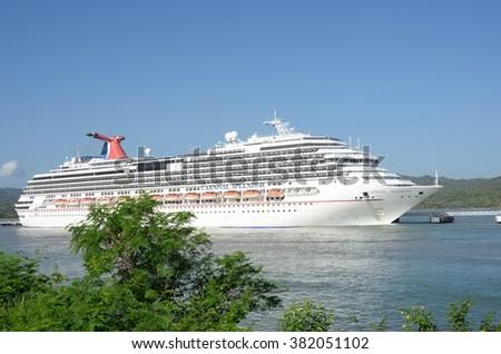AMBER COVE DOMINICAN REPUBLIC 16 FEBRUARY  2016: Carnival Splendor Cruise ship in port  - stock photo