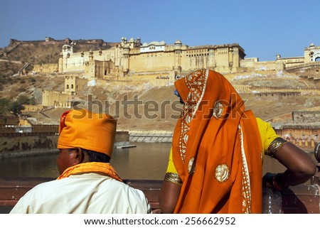 Amber Fort in Jaipur, Rajasthan, India - stock photo
