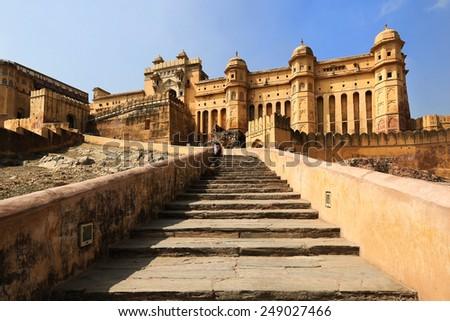 Amber Fort palace, stars, Jaipur, India - stock photo