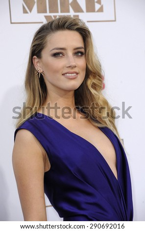 Amber Heard at the World premiere of 'Magic Mike XXL' held at the TCL Chinese Theatre in Hollywood, USA on June 25, 2015.  - stock photo