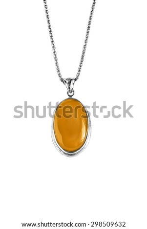Amber silver medallion isolated over white