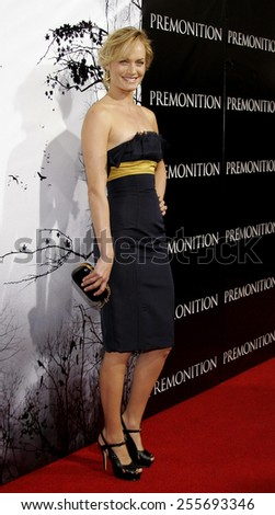 "Amber Valletta attends the Los Angeles Premiere of ""Premonition"" held at the Cinerama Dome in Hollywood, California on March 12, 2007."